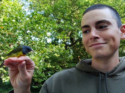 Ryan Davis with a Mourning Warbler