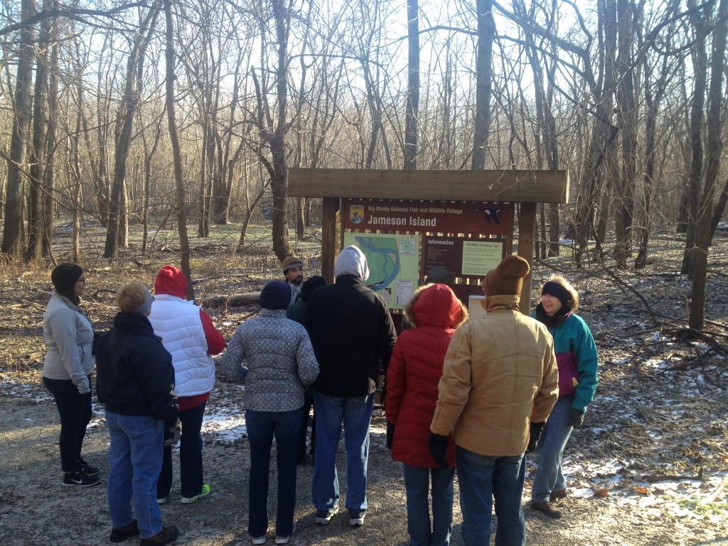 First Day Hikers learn about the importance of bottomland forests at the Jameson Island Unit of the Big Muddy National Wildlife Refuge — neighboring Arrow Rock State Historic Site.
